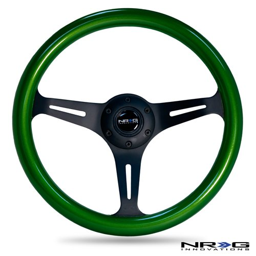 nrg-innovations-st-015bk-gn-classic-wood-grain-wheel-350mm-3-black-spokes-green-pearl-flake-paint