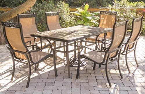 Hanover MONDN7PC-P MONDN7PC Monaco 7-Piece Rust-Free Aluminum Patio Dining Set Outdoor Furniture