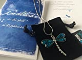 Smiling Wisdom - Gratitude - Dragonfly Abalone Shell Gift Set - Gratitude Greeting Card - Abalone Shell Dragonfly Necklace - Woman, Girl, Friend, Teen