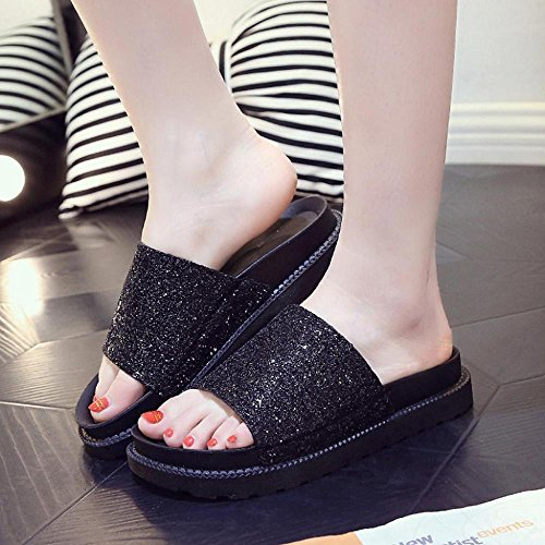 Infradito, Ftxj Donne Ragazze Bling Paillettes Open Toe Casual Pantofole Outdoor Nere