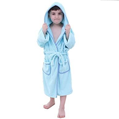 Children Bathrobe Dressing Gown Hooded Towelling 100 Cotton Coral