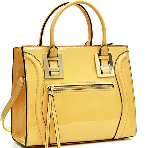 Dasein Vegan Leather Mini Satchel - Yellow