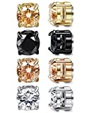 LOYALLOOK 4 Pairs Unisex Round CZ Inlaid Magnetic Earrings Non-Piercing Clip On Stud Earrings 4 Mixed Colors 8mm Round