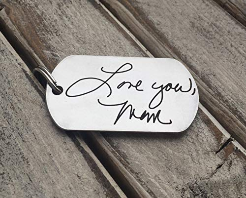 Your Handwriting - Text Dog Tag Key Chain - Custom Unique Personalized, Gift Mom Dad Son Daughter, Children's Writing