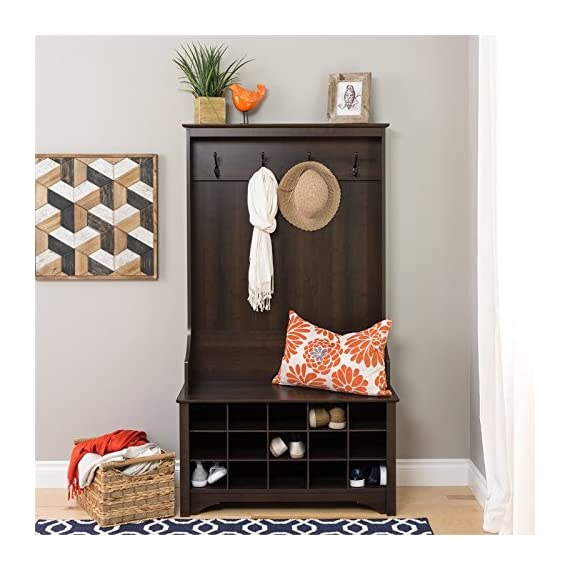 """Atlin Designs Hall Tree with Shoe Storage in Espresso - Finish: Espresso Finished in rich espresso laminate Assembled Dimensions: 38"""" W x 68"""" H x 15.5"""" D - hall-trees, entryway-furniture-decor, entryway-laundry-room - 51ccC3 Zo6L. SS570  -"""
