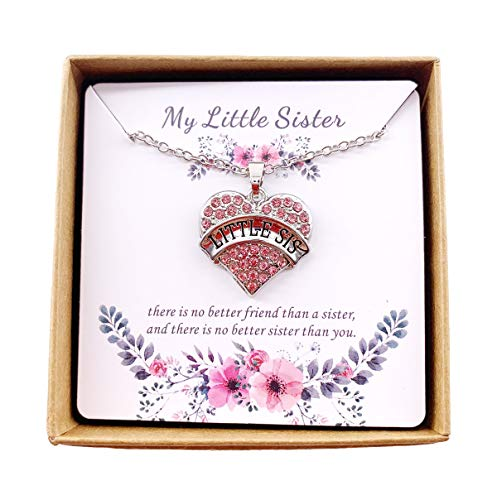 - Charm.L Grace Matching Necklaces Pink Crystal Heart Necklace Lil Sis Little Sister