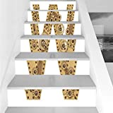 Stair Stickers Wall Stickers,6 PCS Self-adhesive,Letter W,Steampunk Style Automated ABC Symbol Uppercase W Gears Structure Worn Look Print Decorative,Sand Brown,Stair Riser Decal for Living Room, Hall