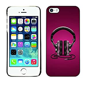 Be Good Phone Accessory // Dura Cáscara cubierta Protectora Caso Carcasa Funda de Protección para Apple Iphone 5 / 5S // Headphones Music Love Purple Black Art