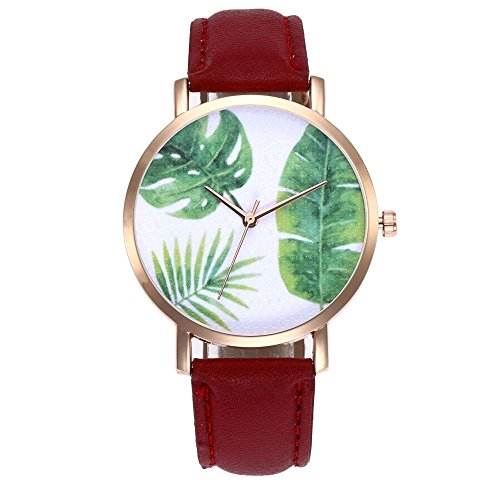 Quartz Leaf (Swyss Unisex Fashion Trend Watch Rainforest Leaves Analog Quartz WristWatch Chic Casual Jewelry Latest Custom (Red))