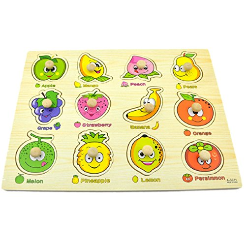 Wooden Puzzle Educational Developmental Baby Kids Training Toy Fruit Recognition