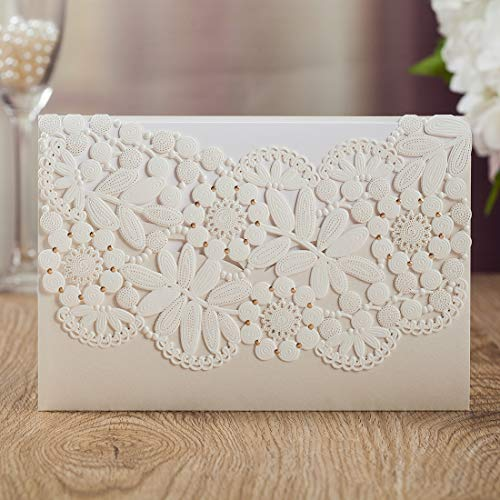 WISHMADE 1 Piece White Laser Cut Wedding Invitations Cards Kits, Blank Printable Invites with Envelops For Engagement Party Birthday Bridal Shower Baby Shower CW8075