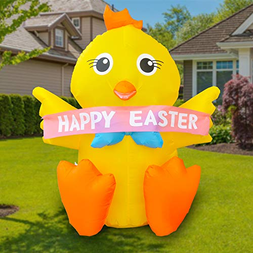 BLOWOUT FUN 4ft Tall Inflatable Cute Yellow Chick Decoration Happy Easter Fun Holiday Indoor Outdoor Lawn Yard Blow Up Art