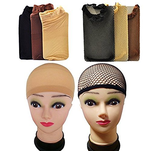 Lady Up 6 Pairs Wig Caps Mesh Nets in Neutral Nude Beige, Black and Brown