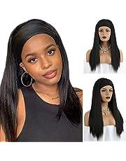 Opaska na głowę peruka czarna prosta opaska na głowę peruka kobiety jedwabiste długie proste peruki z naturalną linią włosów 56 cm syntetyczna impreza dla kobiet dziewczyn