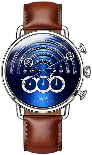 tz Chronograph Sport Watches for Men Blue Dial Leather Band (Brown) ()