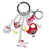chicken and cabbage - Cute Key Chain Alloy Fish Chicken Marvel Key Ring Pom Gift Women Girl Bag Pendant Charm Fashion (Red)