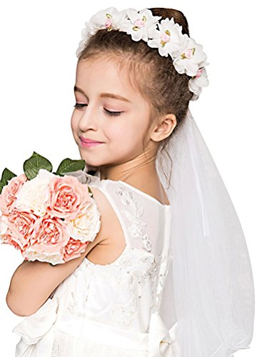 Girls First Communion White Floral Wreath Wedding Veil,White