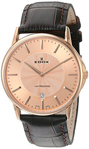 Edox Men's 56001 37R ROIR Les Bemonts Analog Display Swiss Quartz Brown Watch