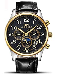Mens Swiss Technology Automatic Black Leather Watches with Sapphire Mirror Moon Phase Calendar 24 Hours