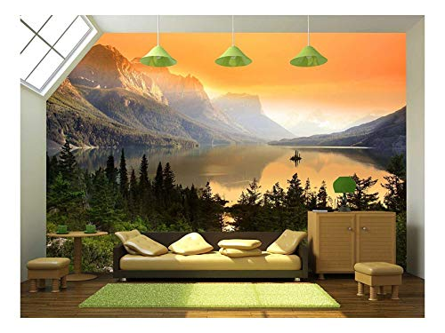 wall26 - Wild Goose Island on Saint Mary Lake in Glacier National Park, Montana - Removable Wall Mural | Self-Adhesive Large Wallpaper - 100x144 inches