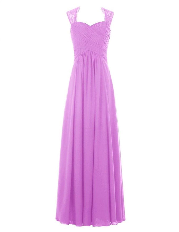 Olidress Women's Cap Sleeve Chiffon Long Prom Bridesmaid Dress, Lavender, 26