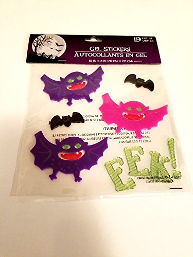 Happy Halloween Bat Ghost Haunted House Fall Gel Window Cling Decorations (Homemade Halloween Costumes For Kids Bat)