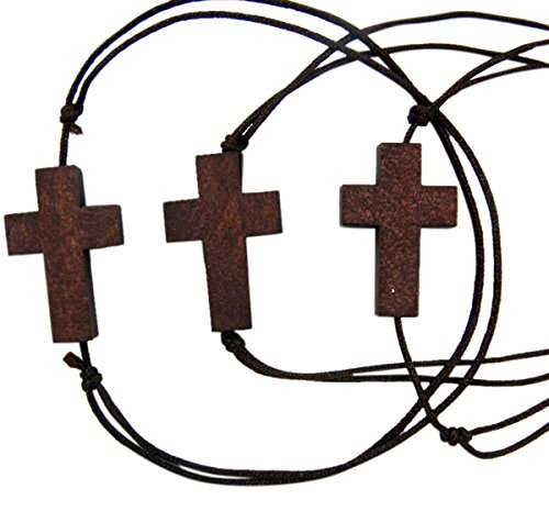 Religious Fashion Jewelry Sideways Cross Wooden Charm Adjustable Cord Bracelet, Pack of 3