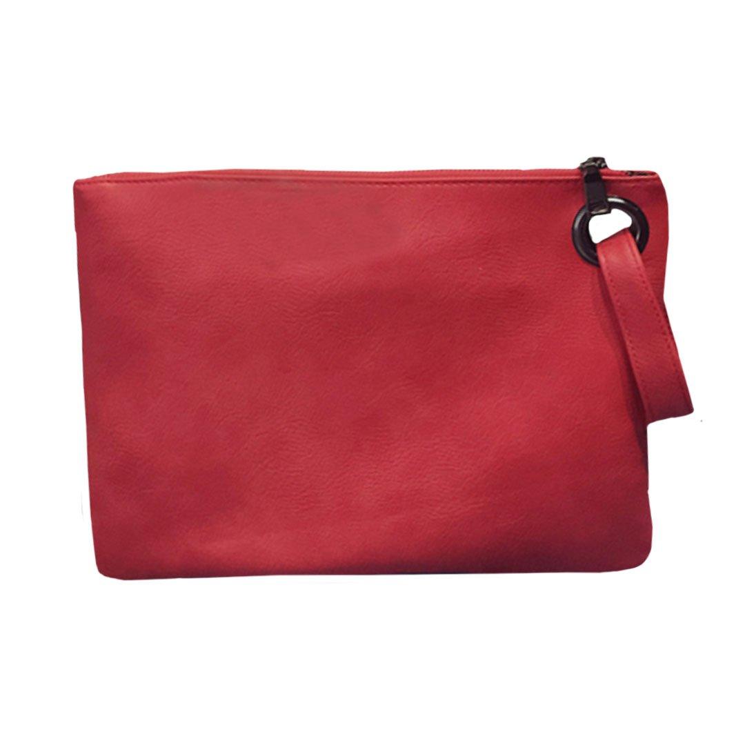 Mily Oversized Clutch Bag Purse Envelop Clutch Chain Tote Shoulder Bag Handbag Foldover Pouch Red