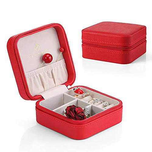 Vlando Small Faux Leather Travel Jewelry Box Organizer Display Storage Case for Rings Earrings Necklace, Christmas Red from Vlando