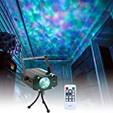 Wishwill Portable Water Wave RGB LED Stage Lighting Ocean Wave Projector Light 7 Color with Remote Control for KTV Party Wedding Club Bar Decoration
