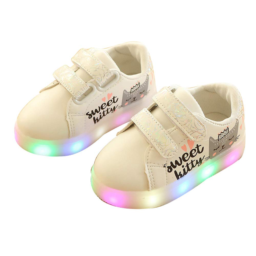 edv0d2v266 Kids Children Charge Led Boys Girls Light up Sneakers Flat Shoes Trainer(White 22/5.5 M US Toddler)
