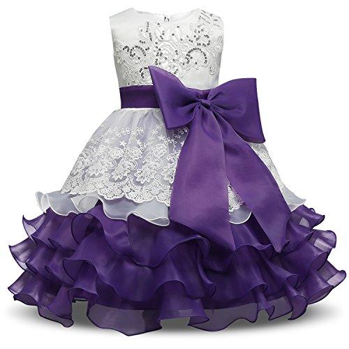 NNJXD Girl Ruffles Vintage Embroidered Sequins Flower Wedding Dress Size (110) 3-4 Years Purple (Girl Bridals Romantic Flower Dress)
