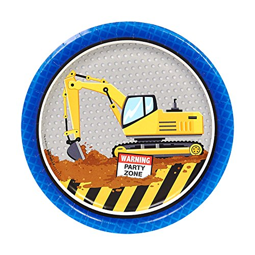 Dump Truck Plate - Construction Birthday Party Supplies 32 Pack Dessert Plates