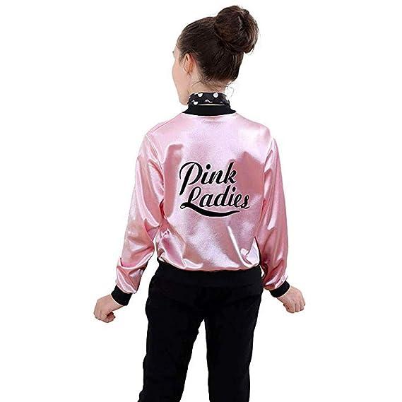 QinMM 3-10 años Chaqueta con Estampado Pink Ladies para niñas pequeñas Retro 50S Zip Disfraz