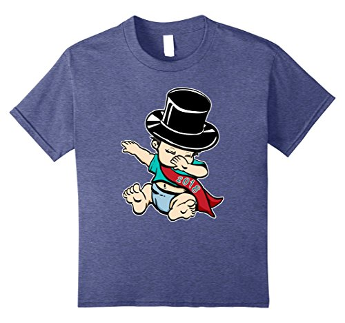 - Kids Dabbing Baby New Years Eve Shirt NYE Party Top Hat Funny 8 Heather Blue