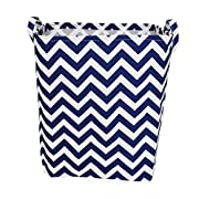 Fabric Storage Bin with Handles for Nursery,Offices & Home Organization,Kids Room & Bathroom (13.4×9.8×15.7 )(Chevron Nautical Blue)