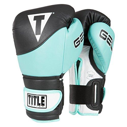 (TITLE Gel Suspense V2T Training Gloves, Black/Turquoise, 12 oz)