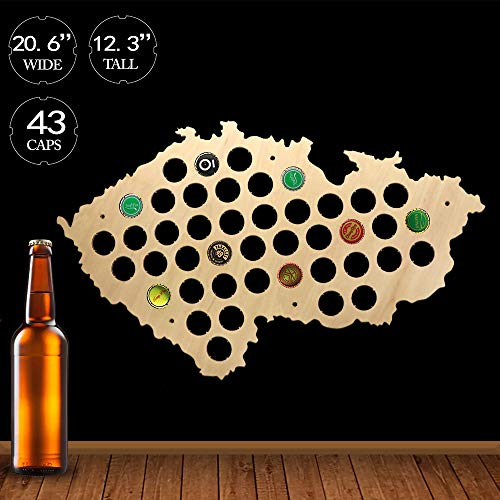 (The Geeky Days Czech Republic Beer Cap Map Pub Bar Wooden Wall Sign Beer Bottle Cap Display Holder Patriotic Czech Map Man Cave Beer Lover Gift)