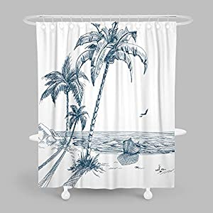 51ccGAyBylL._SS300_ 200+ Beach Shower Curtains and Nautical Shower Curtains