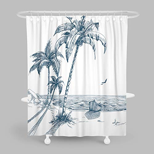 MuaToo Decorative Shower Curtain, Hand-Painted Beaches with Palm Trees Seagulls and Boat Painting, Waterproof Fabric Bathroom Decor Sets with Hooks 60 x 72 Inches, White