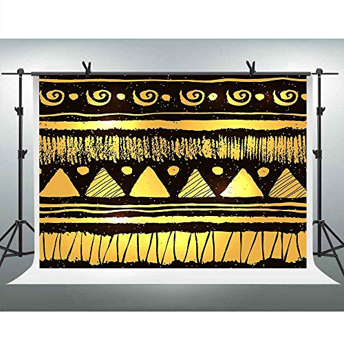 FHZON 10x7ft Egyptian Pyramid Style Backdrops for Photography Golden Background Themed Party YouTube Backdrop Photo Booth Props LXFH1007 ()