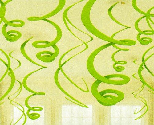 Party Friendly Plastic Swirl Decoration, Kiwi, 22