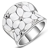 Womens Elegant Enamel Flower White Gold Band Bloom Petal Platinum Wedding Engagement Ring Crystal Inlay Size 8