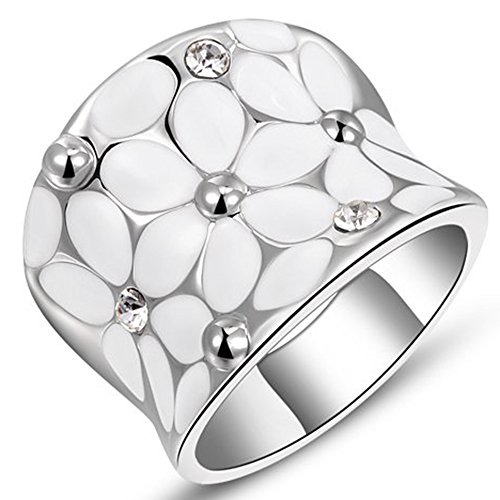 Womens Elegant Enamel Flower White Gold Band Bloom Petal Platinum Wedding Engagement Ring Crystal Inlay Size 8 ()