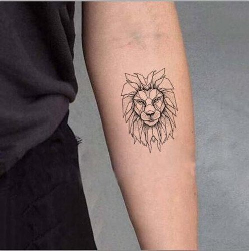 Set of 5 Waterproof Temporary Fake Tattoo Stickers Grey Lion Vintage Cool