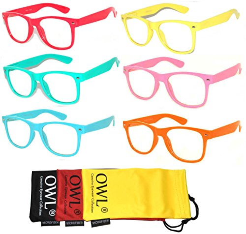 Vintage Sunglasses with Clear Lens Frame Color -Red, Orange, Yellow, Turquoise, Pink, Blue-6 Pack - Online Vintage Frames