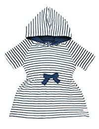 RuffleButts Infant/Toddler Girls Navy Stripe Terry Cloth Hoodie Swim Cover up