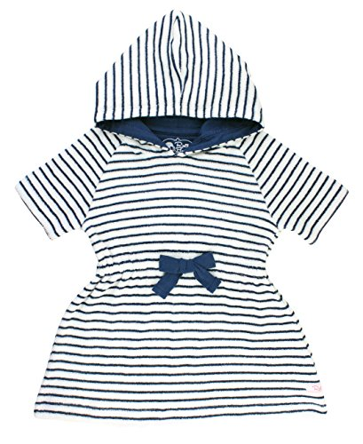 RuffleButts Infant / Toddler Girls Navy Stripe Terry Cloth Hoodie Swim Cover Up - Blue - 12-18m (Cover Cloth Swim Terry)