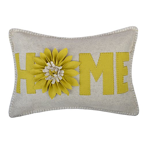 Sunflower Accent - JWH 3D Sunflower Accent Pillow Case Wool Handmade Cushion Cover Decorative Stereo Pillowcase Home Bed Living Room Office Chair Couch Decor Gift 14 x 20 Inch Bright Yellow