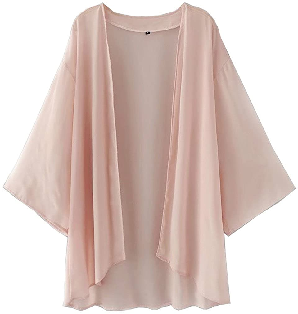 NEW-EC Womens Chiffon Kimono Cardigan Jackets Swimsuit Cover Ups Loose 3/4 Sleeve Tops